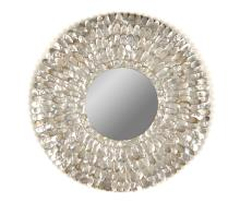 A Decorative Circular Wall Mirror with Mother of Pearl Shell Petals