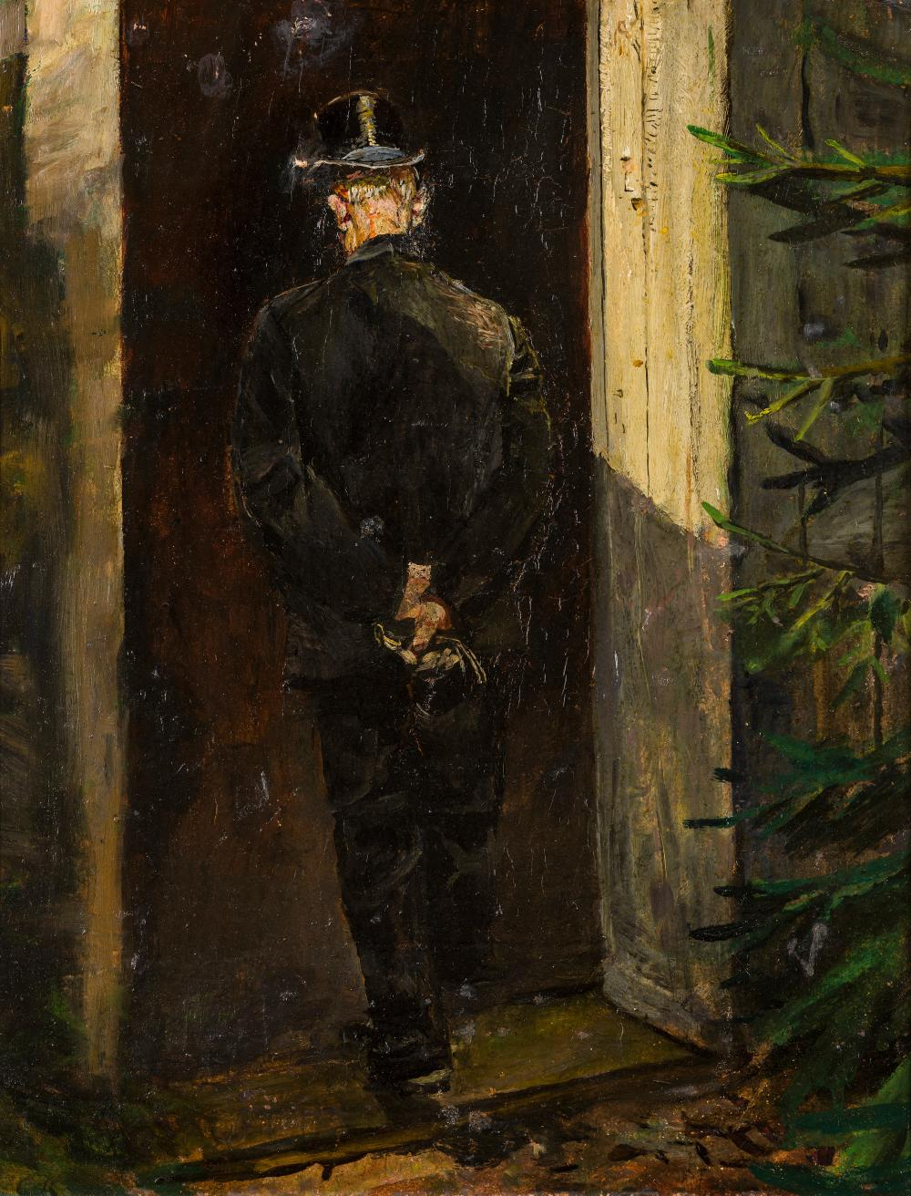Christian Krohg (1852-1925), Man with a Top Hat in a Doorway, seen from behind