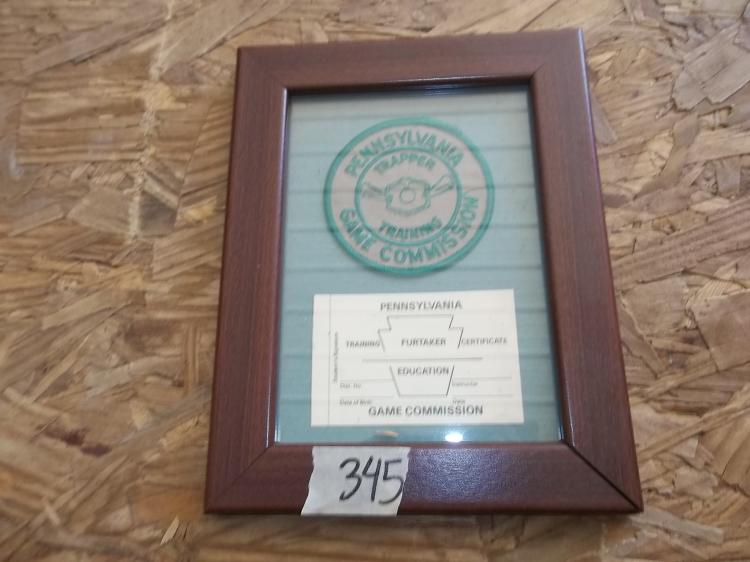 PA Game Commission Trapper Training Patch & Certificate