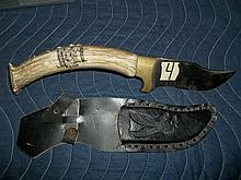 Stag Handle Large Knife with Sheaf
