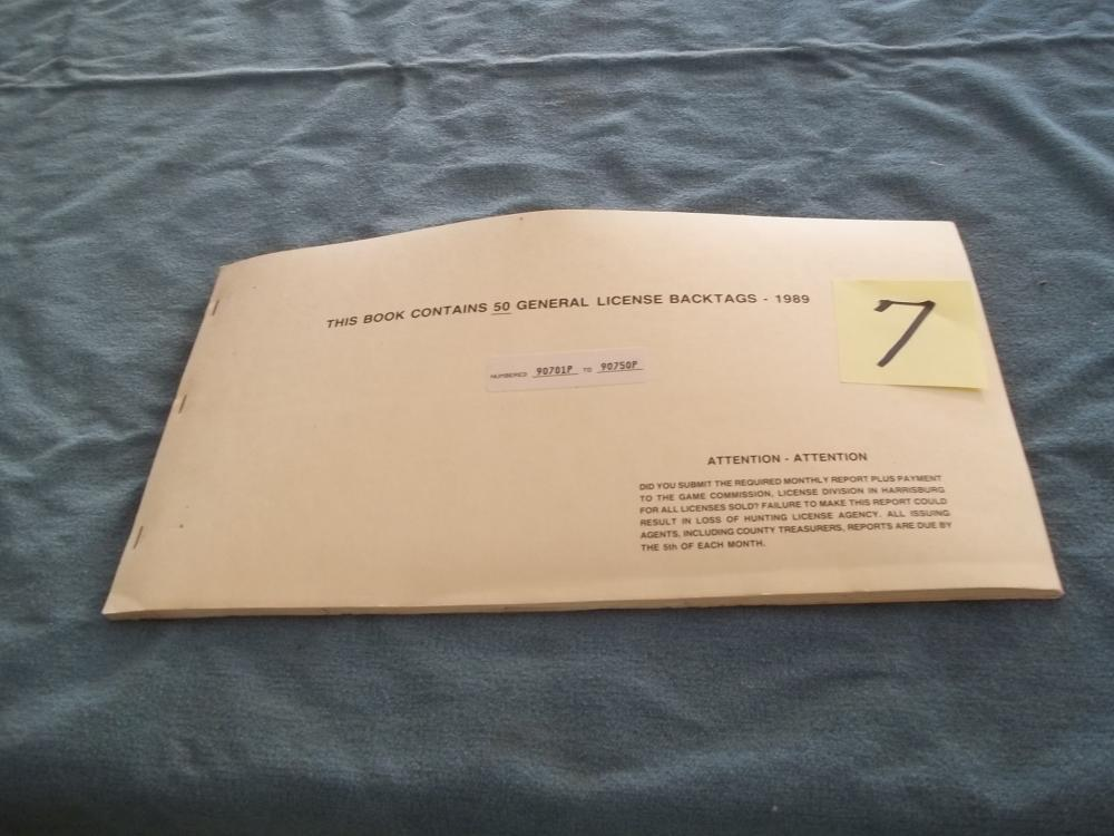 Book Containing 50 General License Back Tags 1989
