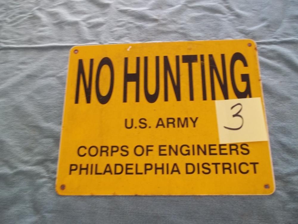 Metal No Hunting Sign US Army