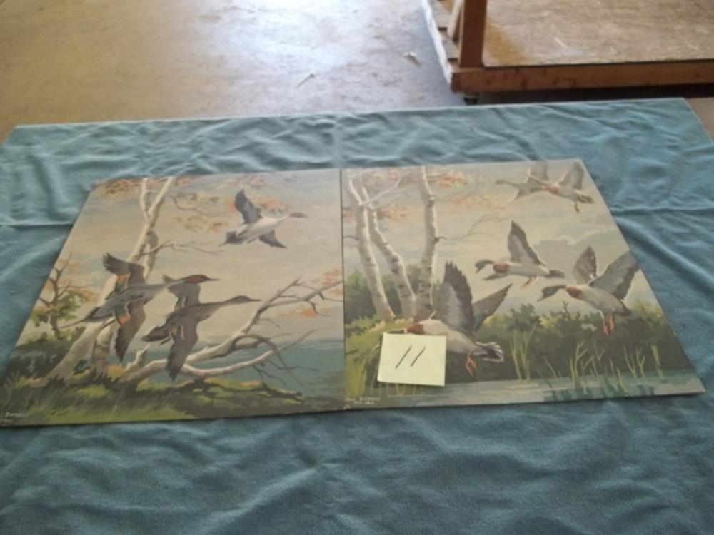 2 Lots: Oil Paint by number Pictures