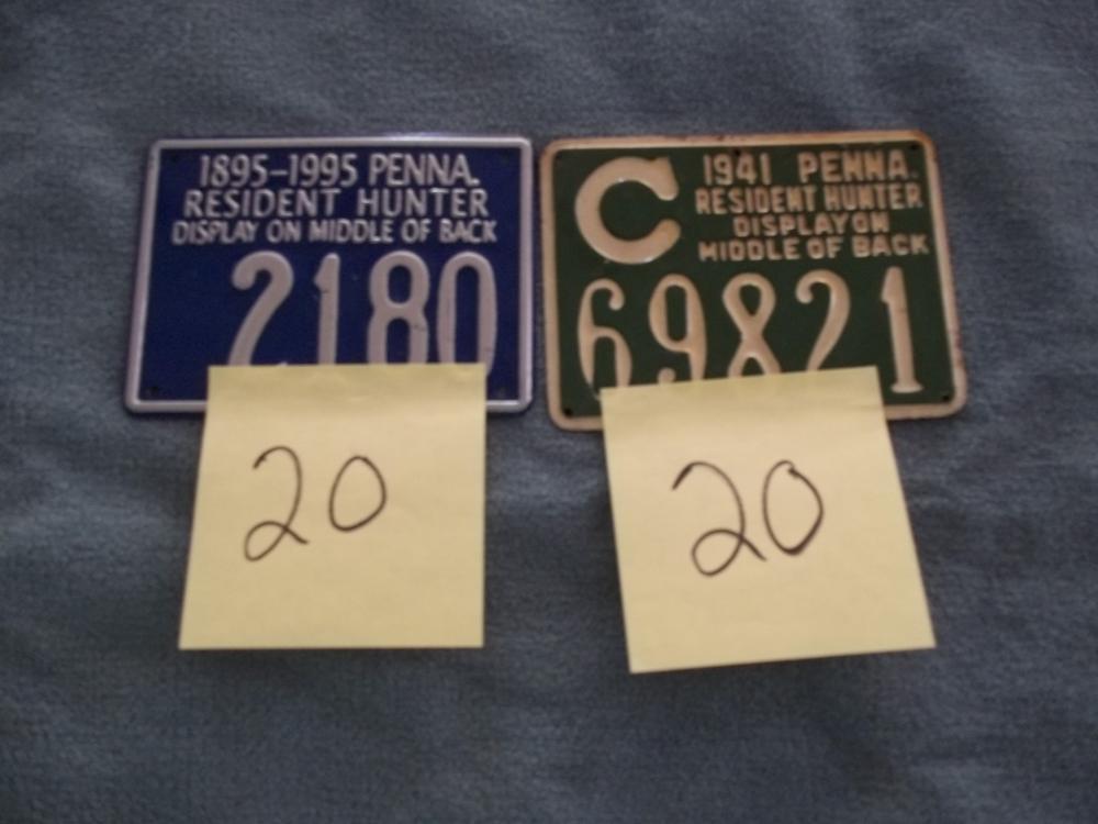 2 Lots: 1941 & 1895-1995 Metal PA Hunting License
