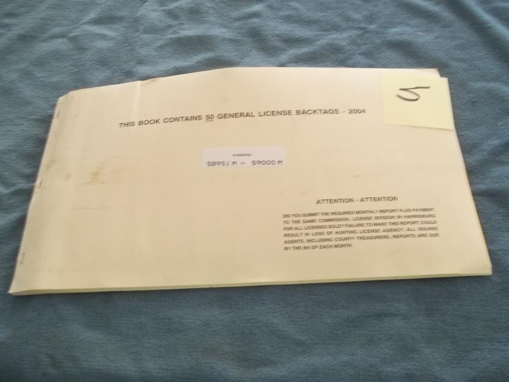 Book Containing 50 General License Back Tags 2004