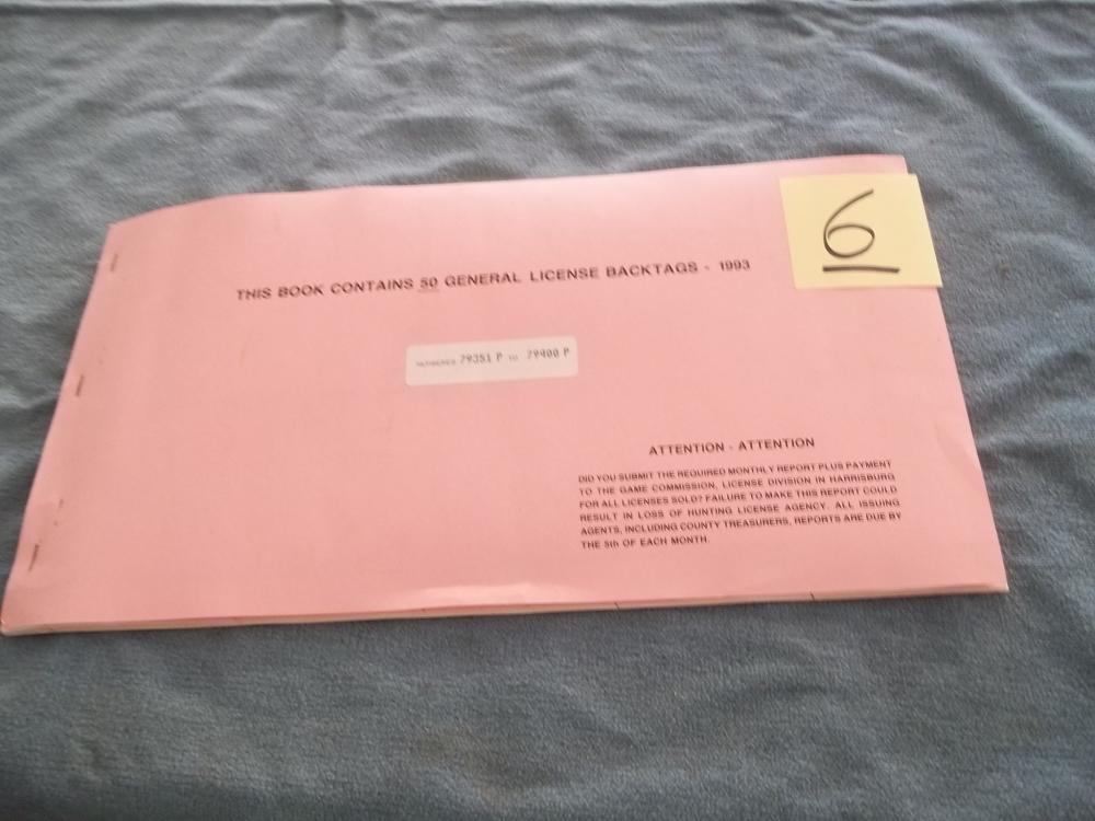 Book Containing 50 General License Back Tags 1993