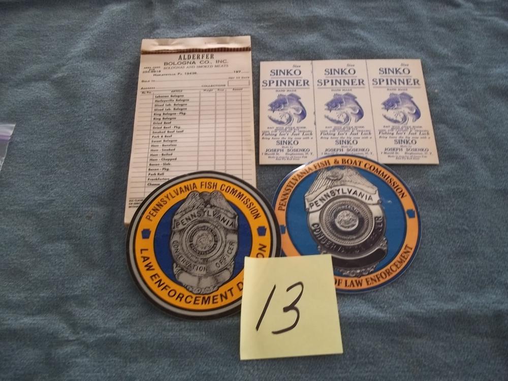 3 Lots: Bureau of Law Enforcement, Sinko Spinner, Alderfer Receipt book