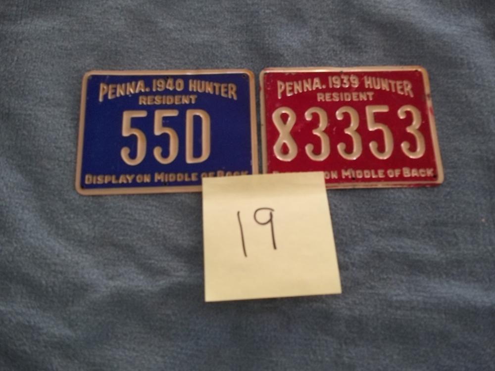 2 Lots:  1939 & 1940 Metal PA Hunting License