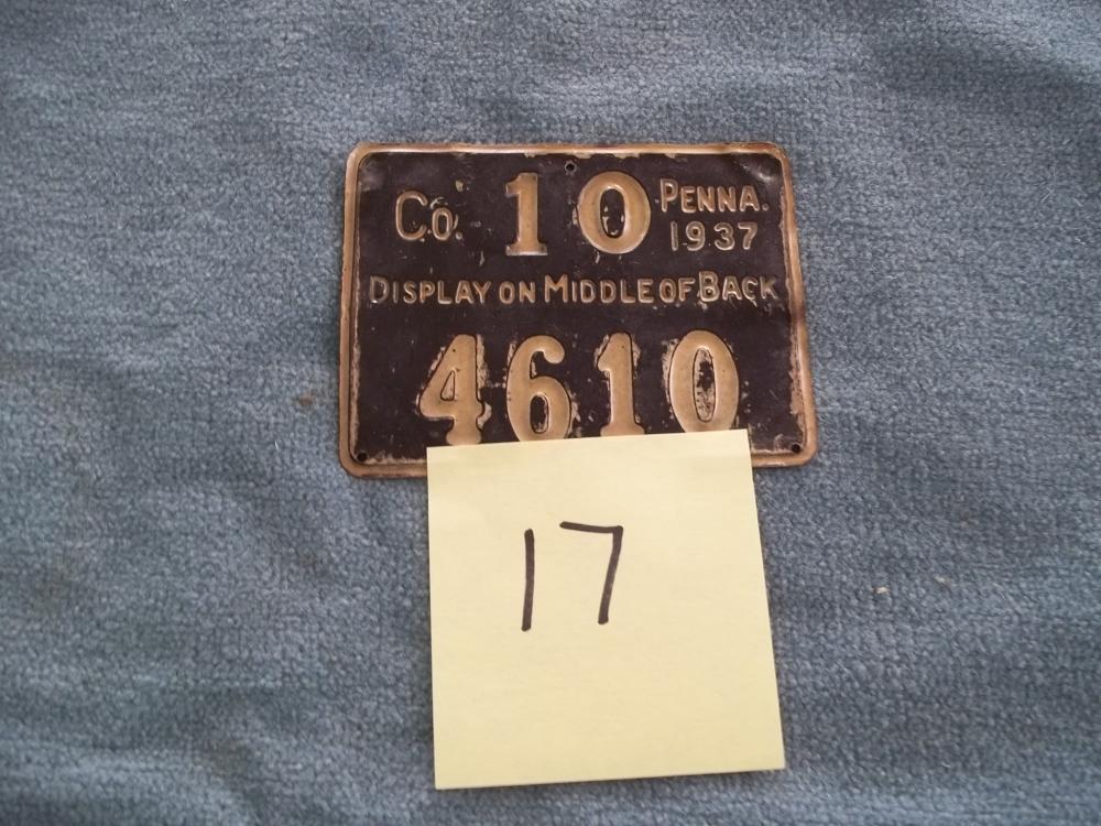 1937 Metal PA Hunting License