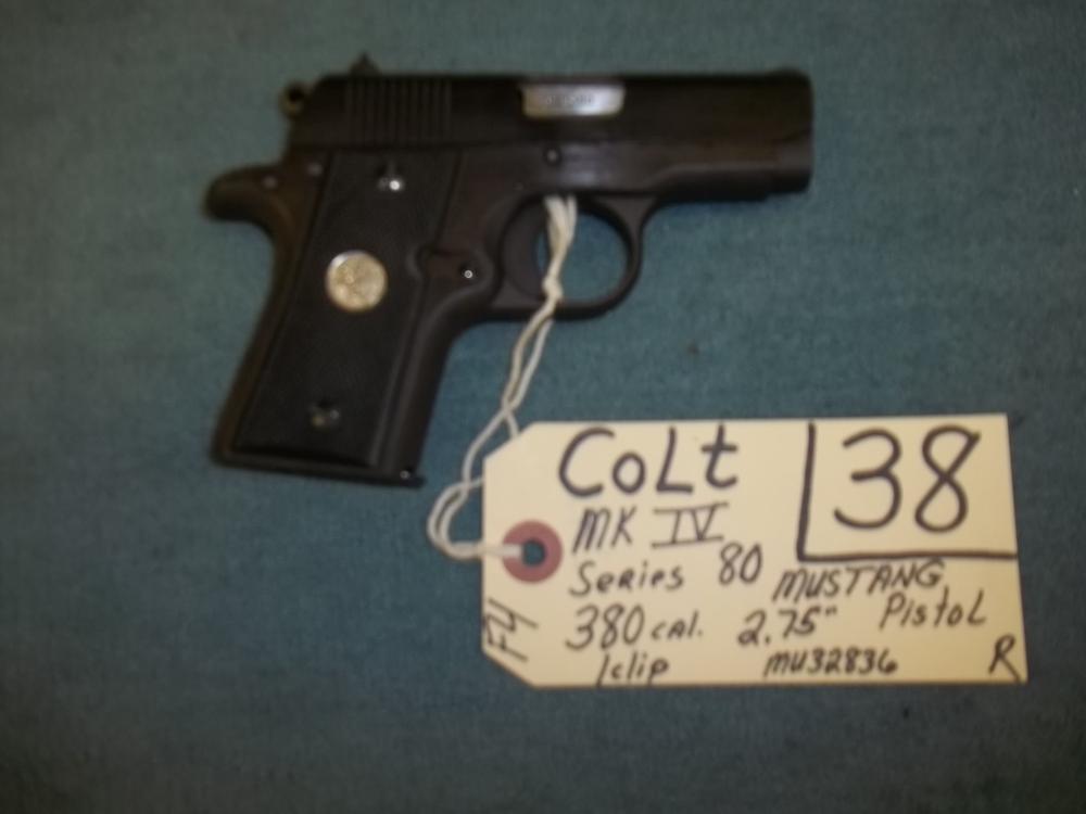 Colt MK IV Series 80, 380 Cal., 1 clip, Mustand MU32836 Reg. Req.