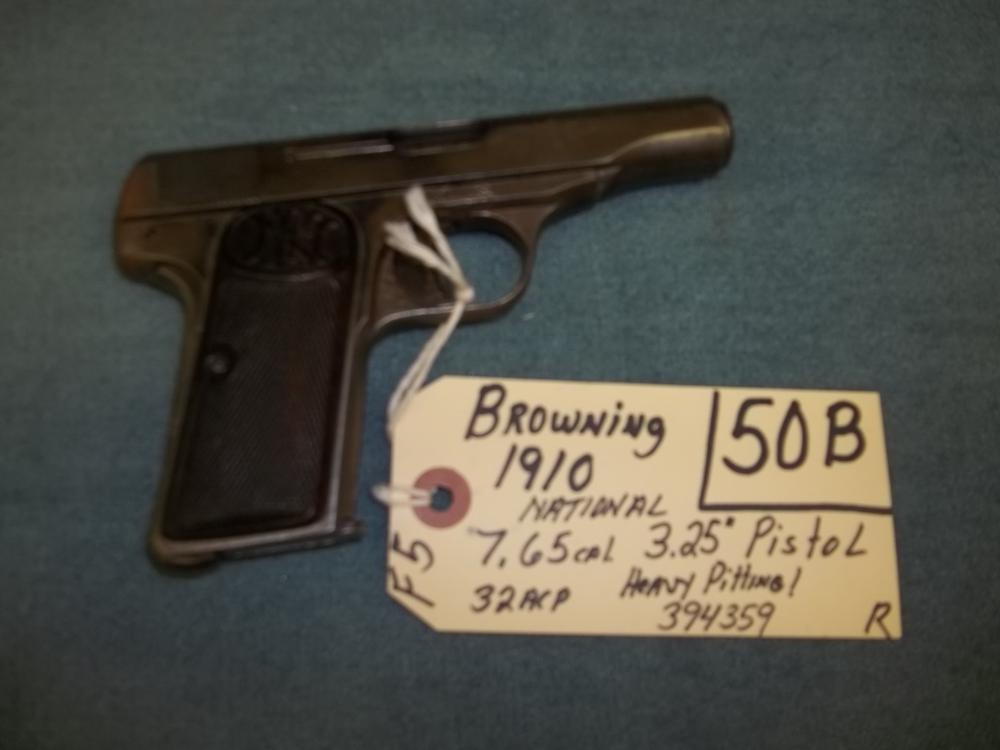 Browning 1910 National, 7.65 Cal. 32 ACP 394359 Reg. Req.