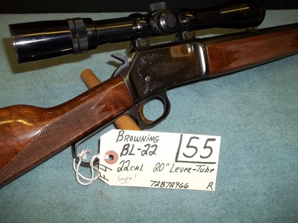 Browning BL-22, 22 Cal. Lever Tube, Scope 72B72966 Reg. Req.