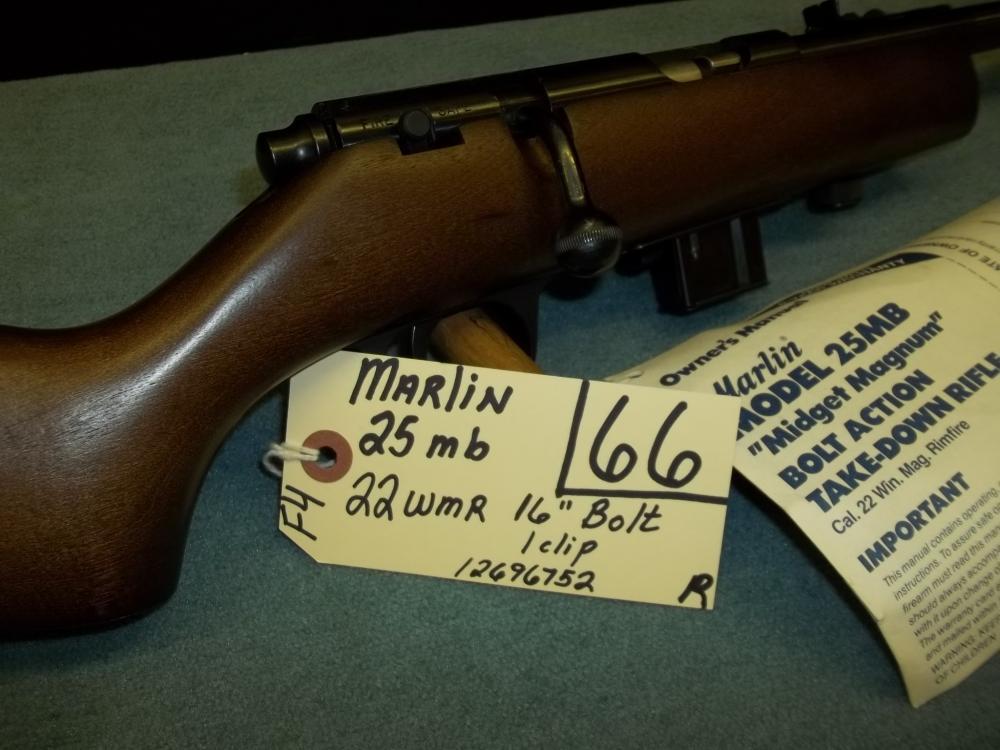 Marlin 25 MB, 22 WMR, 1 clip, 12696752 Reg. Req.