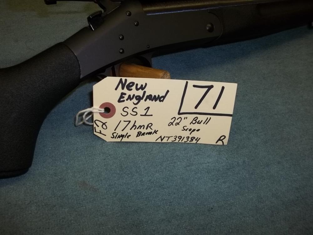 New England SS1, 17 HMR, Single Break, Scope NT391384 Reg. Req.