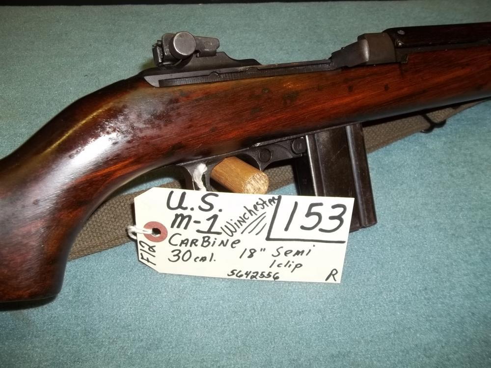 U.S. M-1 Winchester Carbine, 30 Cal. Semi, 1 clip 5642556 Reg. Req.