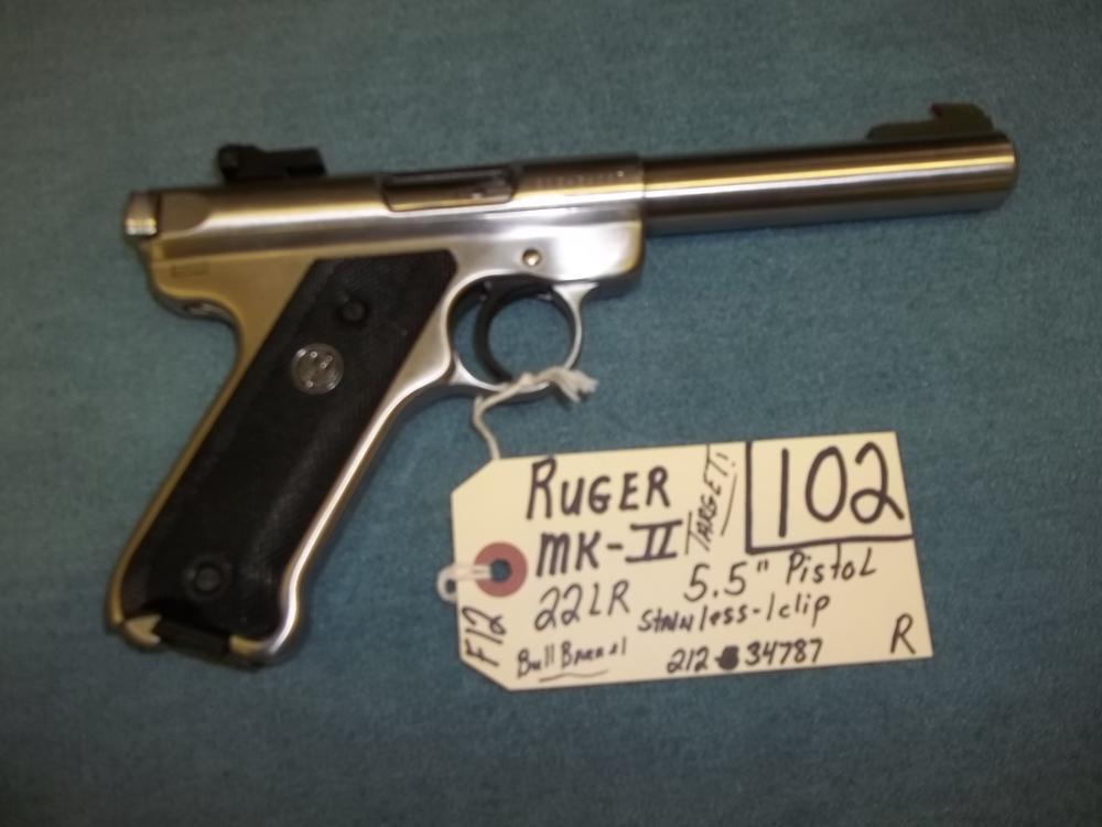 Ruger MK-II, 22 LR, Bull Barrel, SS, 1 clip, 212-34787 Reg. Req.