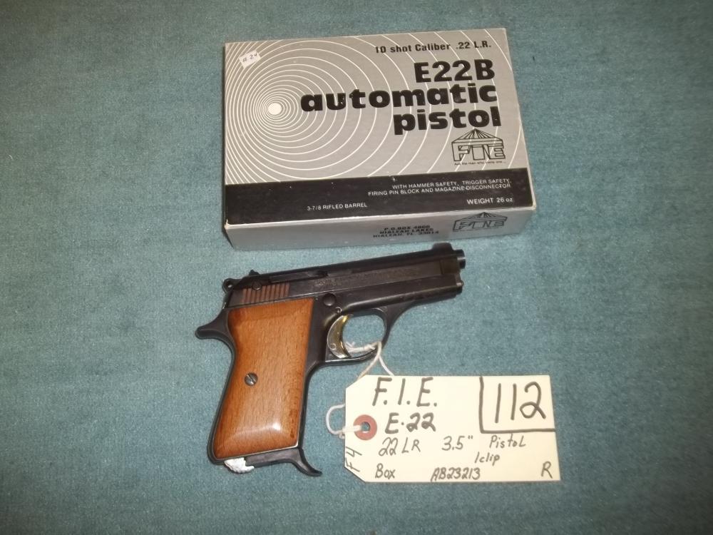 F.I.E. E-22, 22 LR, 1 Clip, AB23213 Reg. Req.