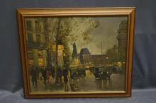 Oil On Canvas Signed Edouard Cortes- Street Scene