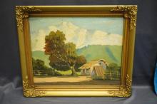 Oil On Canvas Farm Scene- Signed