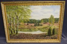 Oil On Canvas Nature Scene With Pond And Field