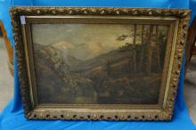 Early Art On Canvas- Mountain Scene