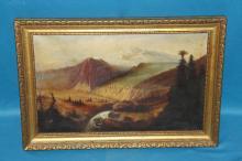 Oil On Canvas Mountain Scene