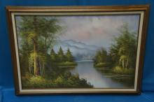 Oil On Canvas Landscape Scene By Shaw