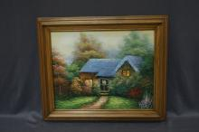 Oil On Canvas Cottage In The Forest