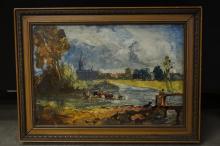 Franz Arthur Bischoff Landscape w/ Cattle