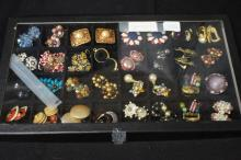 Tray Of Assorted Costume Earrings