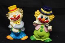 2 Vintage Rubber Clown Banks