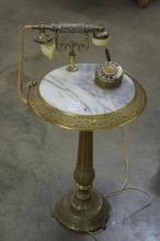 Vintage Brass Marble Top Telephone Table