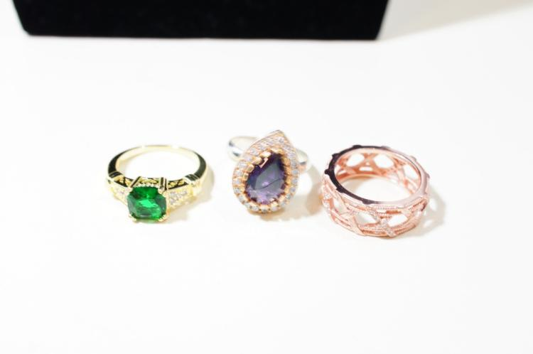 Three rings sterling amethyst CZ rose gold green