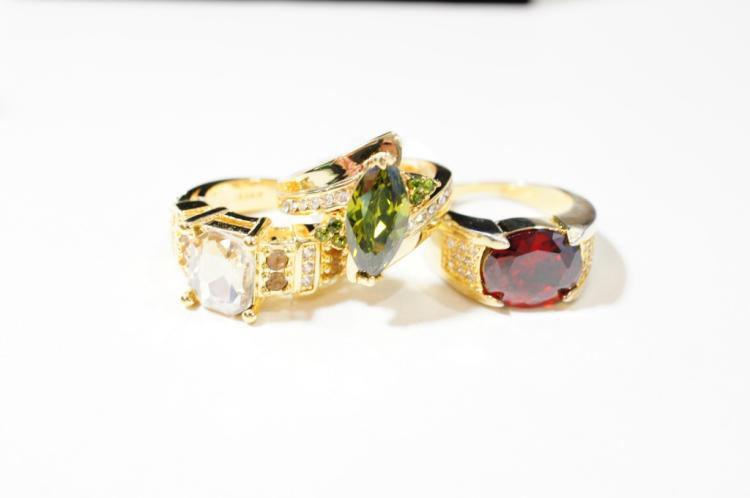 Three rings sterling garnet sterling peridot