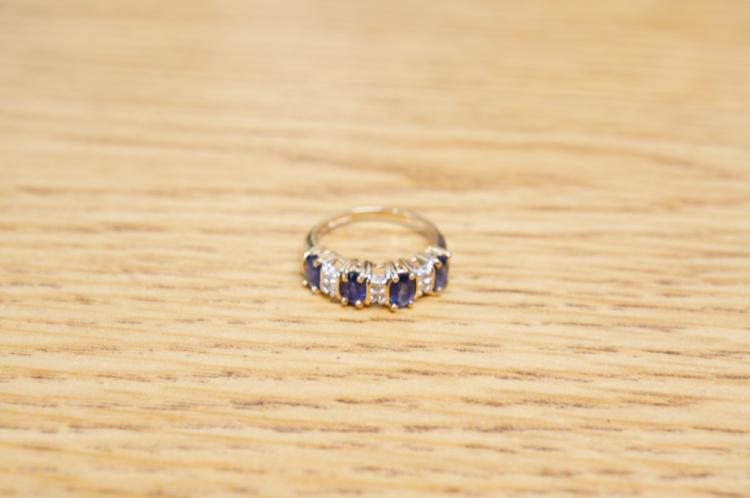 Sapphire Diamond Ring 14k Size 4 1/2
