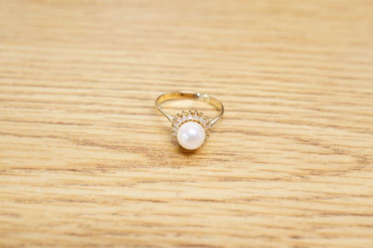 Pearl Diamond Ring 14k Size 7