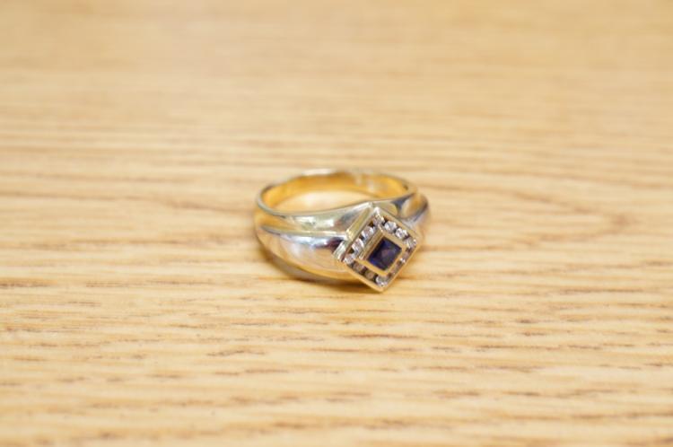 10k Mens Sapphire & Diamond Ring Size 12