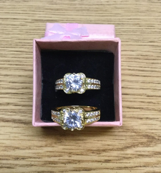 2 gold filled CZ rings size 8