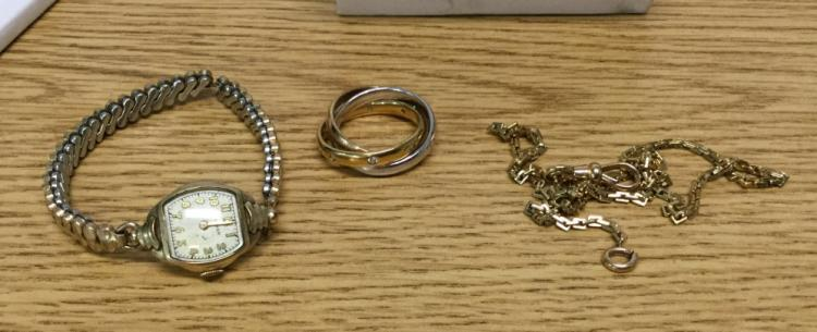 Ladies Waltham watch,watch chain, triple ring