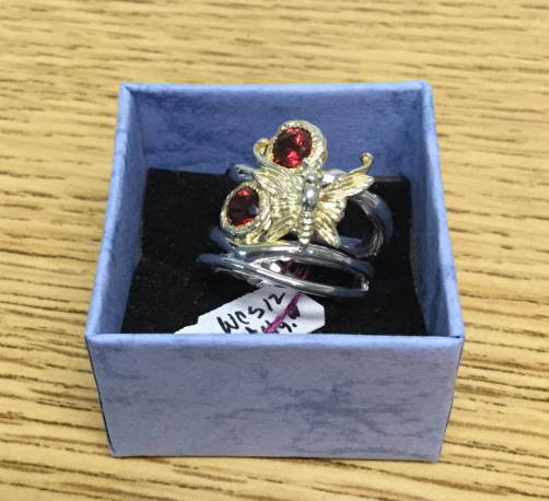 Sterling garnet butterfly ring size 5