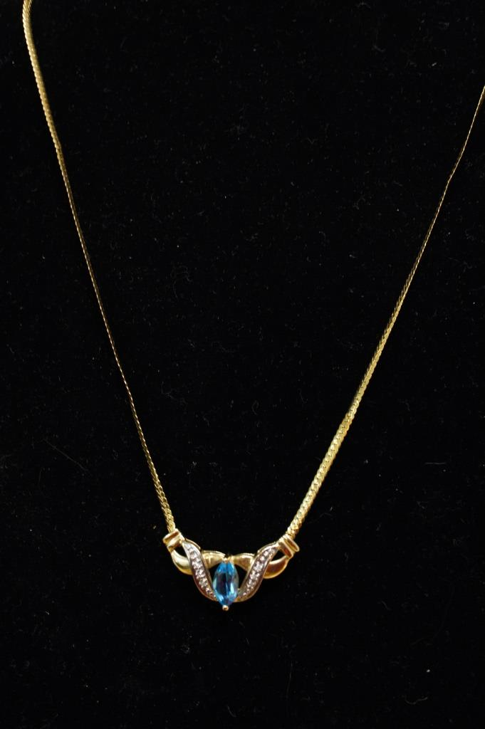10k Blue Topaz Necklace
