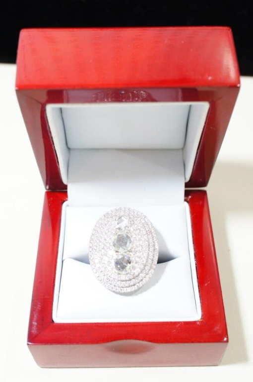 18kt White Gold Rose Cut Diamond 5.73 Size 6.5