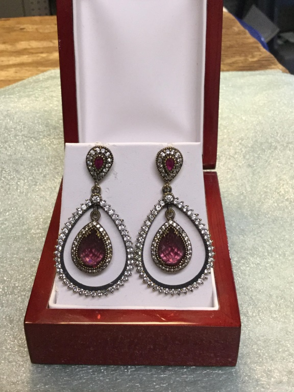White sapphire and ruby earrings