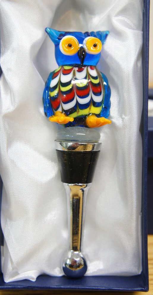 Murano Owl Wine Stopper