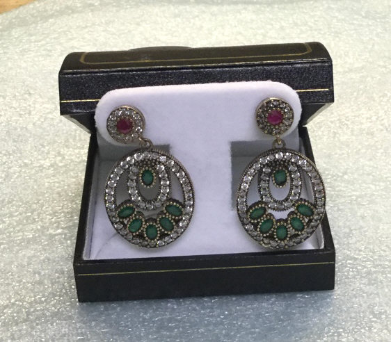 Sterling ruby and emerald earrings