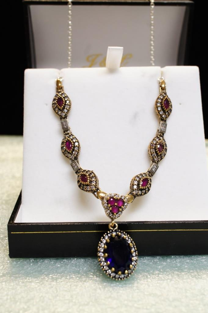 Sterling Ruby And Sapphire Necklace