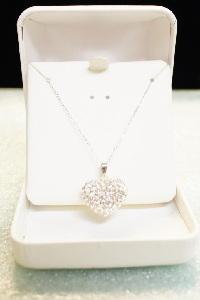 Sterling White Sapphire Heart Necklace