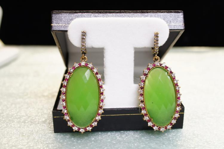 Sterling Earrings With Lime Green Stone