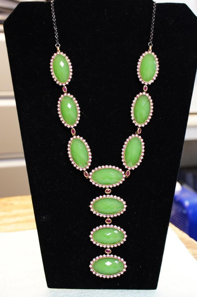 Sterling Necklace With Lime Green Stone
