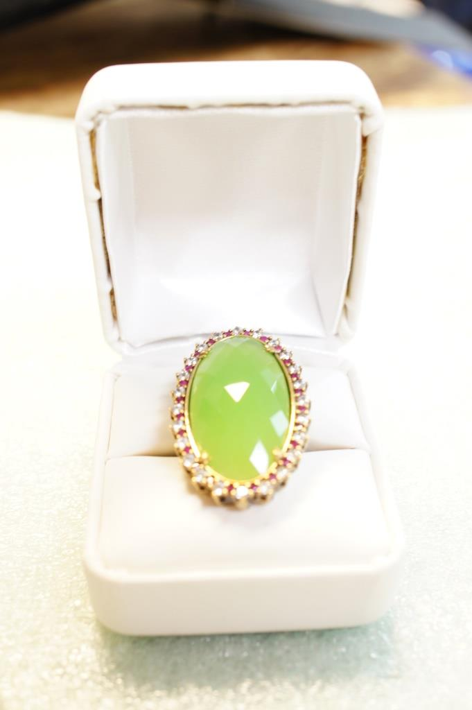Sterling Ring With Lime Green Stone Size 8.5